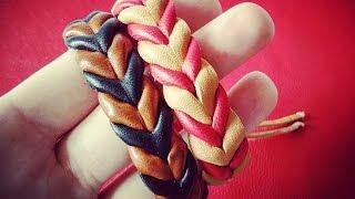 getlinkyoutube.com-Como hacer pulseras de cuero simulando una trenza paso a paso. Curso básico de cuero. Diy Leather.