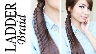 getlinkyoutube.com-Ladder Braid Ponytail Hairstyle for Medium Long Hair Tutorial - Bebexo