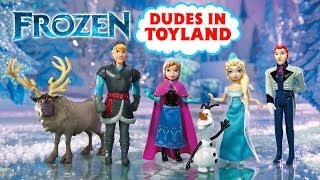 getlinkyoutube.com-Frozen toys dolls with Anna and Elsa, Kristoff, and Olaf Complete Story Set