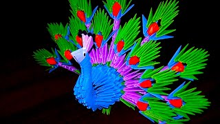 3D origami peacock (the king of birds) tutorial (instruction)