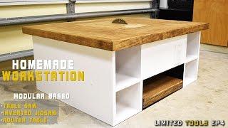 getlinkyoutube.com-Homemade Table Saw, Jigsaw, Router Workstation  Modular | How to Make