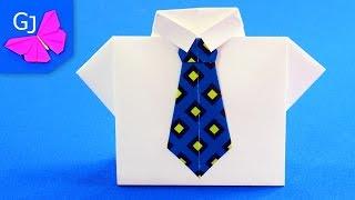 getlinkyoutube.com-Оригами рубашка с галстуком — подарочный конверт