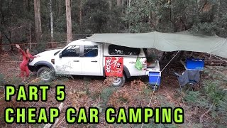 getlinkyoutube.com-Cheap DIY Car Camping Setup Part 5, Dense Bush Campsite