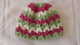 getlinkyoutube.com-VERY EASY crochet cluster baby hat tutorial - crochet hat for beginners