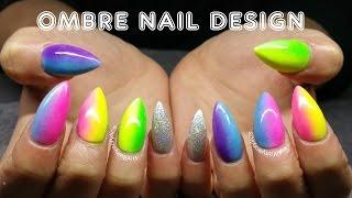 getlinkyoutube.com-Ombre Acrylics Nail design | Gay pride | summer nail design