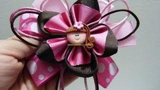getlinkyoutube.com-flores en cinta faciles para  decorar moños para el cabello paso a paso. Manualidadeslahormiga