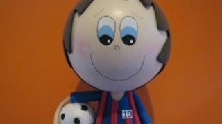 Muñeco Fofucho En Foamy Lionel Messi Barcelona FC Artfoamicol Moldes.wmv