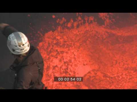 Volcano Lava Lake Extreme Climbing Into Crater Ambrym Island HD Footage 1920x1080 30p