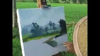 getlinkyoutube.com-Pelukis spiritual, Ketut Sugama saat melukis di sawah