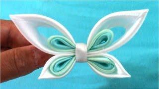 getlinkyoutube.com-Mariposas Kanzashi butterflies ribbons en cintas para el cabello