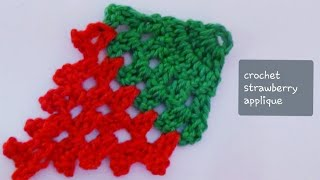 getlinkyoutube.com-Crochet Strawberry Applique-1