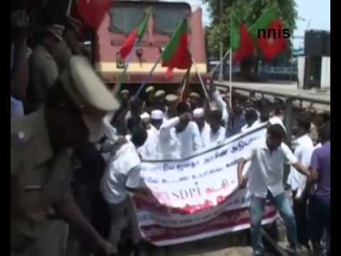 Sdpi  Holds  Rail Roko  At Chennai  Railway Station