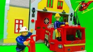 getlinkyoutube.com-Feuerwehrmann Sam RettungsStation Fireman Sam SIMBA Fire Station Toy Unboxing
