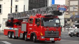 getlinkyoutube.com-緊急走行で火災現場に集結する消防車・パトカー Many fire trucks gathered at the scene of the fire.