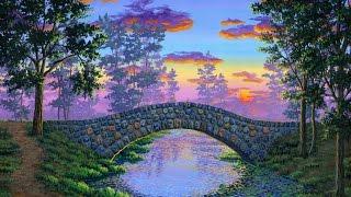 getlinkyoutube.com-cara melukis jembatan batu dengan akrilik di atas kanvas 4k ultra-video beresolusi tinggi