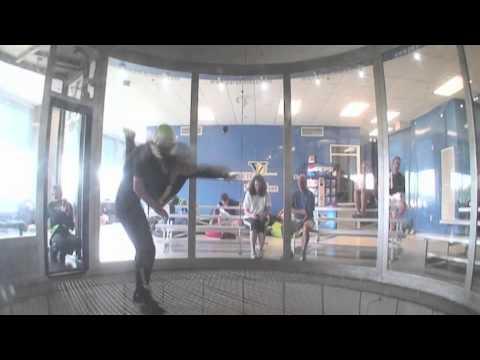 In Flight:  Beginner Level at an Indoor Skydiving Center