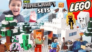 getlinkyoutube.com-2015 LEGO Minecraft Sets & Toys! The Dungeon, Snow Hideout, Nether Fortess & Desert Outpost!