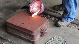 getlinkyoutube.com-Making an Aluminum Way Cover Part 1:  Casting the Part in my Backyard Foundry