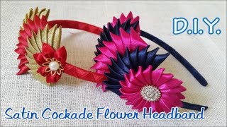 getlinkyoutube.com-❀❀❀ D.I.Y. Satin Cockade Flower Headband | MyInDulzens ❀❀❀