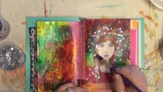 getlinkyoutube.com-Mixed Media Art Journal Page - How-To - Acrylic Painting - Star Girl