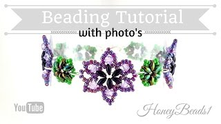 getlinkyoutube.com-Easy Beaded Flower Bracelet Beading Tutorial by HoneyBeads1 (Photo tutorial with twin beads)