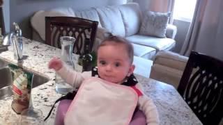 getlinkyoutube.com-Babies first time drinking water