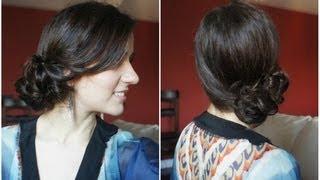 getlinkyoutube.com-Romantic Side Bun Tutorial for medium to long hair