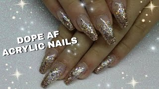getlinkyoutube.com-HOW TO: ROSE GOLD GLITTER GRADIENT ACRYLIC NAILS