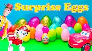 getlinkyoutube.com-SURPRISE EGGS Nickelodeon Paw Patrol Disney Toy Story + Cars + Nemo Surprise Eggs Video