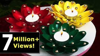 getlinkyoutube.com-DIY Diwali/Christmas Home Decoration Ideas : How to Decorate Christmas Candles from Plastic Spoons?