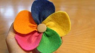 getlinkyoutube.com-Cómo hacer una flor de colores con fieltro | facilisimo.com