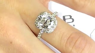 2 carat Cushion Cut Diamond Halo Engagement Ring