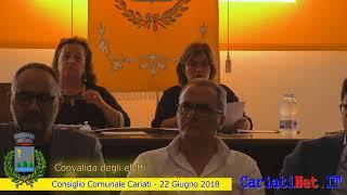 Convalida degli eletti  - Consiglio Comunale Cariati 22 giugno 2018