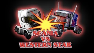 getlinkyoutube.com-Euro Truck Simulator - 2 Scania VS Western Star - Peterbilt 4964EX