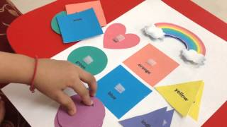 getlinkyoutube.com-Toddler doing a rainbow-themed color & shape matching activity!
