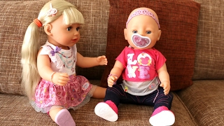 getlinkyoutube.com-Baby Born Sister Doll: Drinks and Cries Real Tears ! Merry Christmas and Make Babydoll Hairstyles