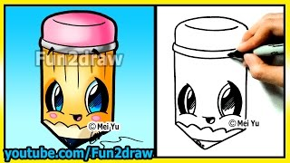 getlinkyoutube.com-Back to School Cutie! How to Draw Easy Things - Pencil - Cartoon drawing tutorials Fun2draw kawaii