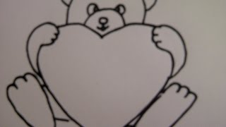getlinkyoutube.com-Teddybär mit Herz zeichnen. Zeichnen + Basteln zum Muttertag