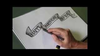 getlinkyoutube.com-How to draw an easy 'flowing ribbon' shape for your letters