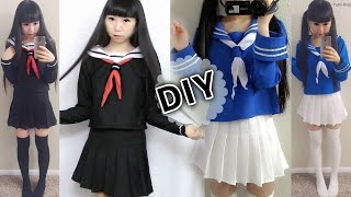 getlinkyoutube.com-DIY Japanese Anime School Uniform: DIY Easy Long Sleeve Seifuku + DIY Seifuku Scarf