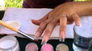 getlinkyoutube.com-Gold N Pink Acrylic Nail Tutorial