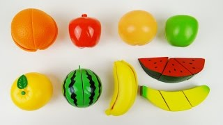 getlinkyoutube.com-Toy Cutting Fruit Velcro Cooking Playset Fruit Salad Wooden and Plastic