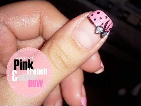 Manichiura french roz si fundita argintie tutorial (Cute pink french nails with bow) - DBB