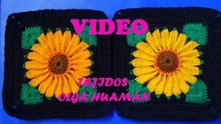 getlinkyoutube.com-girasol pequeño tejido a crochet para colchas de camas