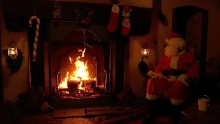 getlinkyoutube.com-🎅Santa Claus Relaxing at the Crackling Christmas Fireplace