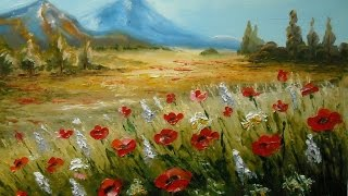 """getlinkyoutube.com-Oil painting with Svetlana Kanyo """"Landscape with poppies"""""""