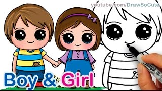 getlinkyoutube.com-How to Draw a Cute Boy and Girl Holding Hands step by step Best Friends