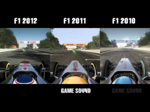 F1 2012 vs. F1 2011 vs. F1 2010 - graphics & sound comparison (1080p)