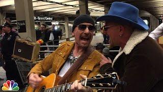 getlinkyoutube.com-U2 Busks in NYC Subway in Disguise