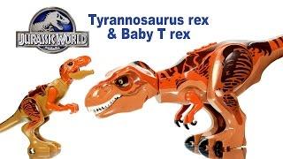 getlinkyoutube.com-Jurassic World Tyrannosaurus Rex & Baby T-rex LEGO KnockOff Big Figures